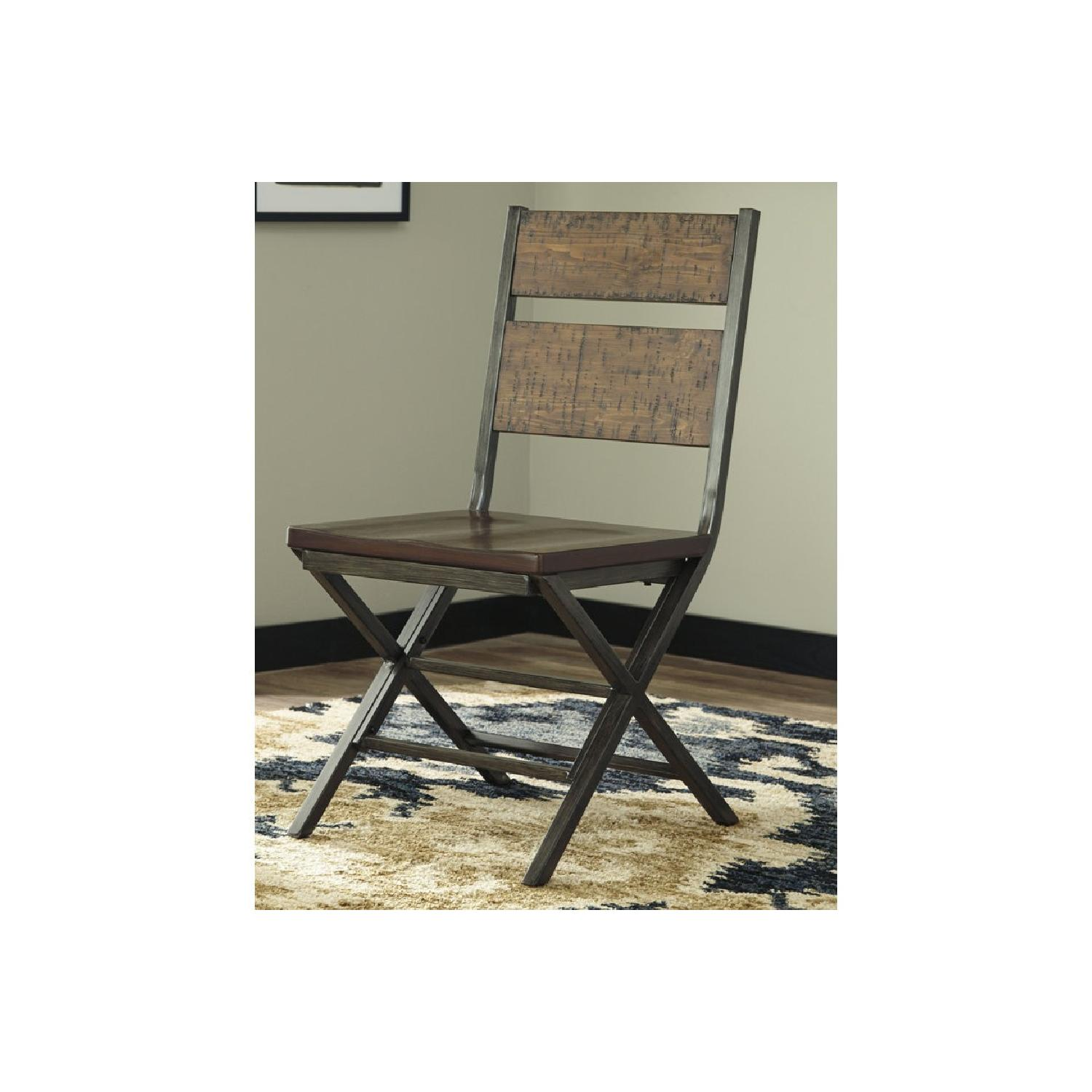 Ashley Distressed Counter Farm Table w/ Bench + 4 Chairs-2
