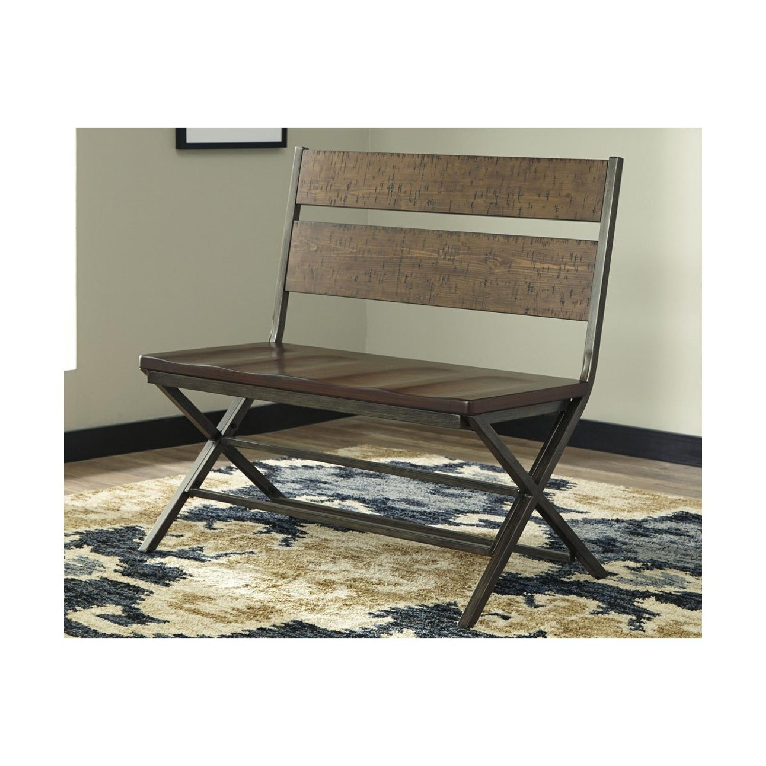Ashley Distressed Counter Farm Table w/ Bench + 4 Chairs-4