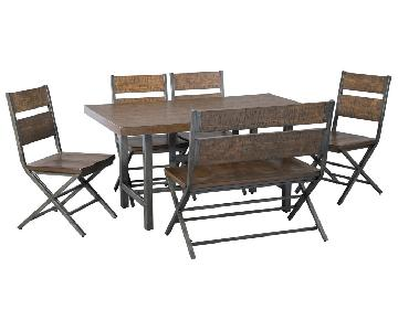 Ashley Distressed Counter Farm Table w/ Bench + 4 Chairs