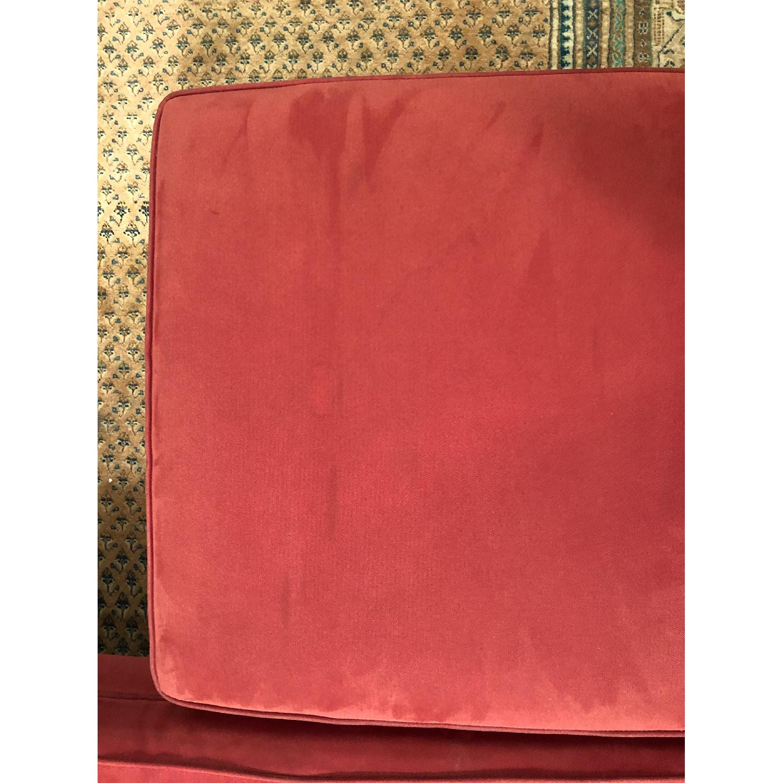 American Leather Red Microfiber Sofa & Ottoman - AptDeco