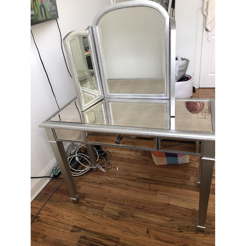 Pier 1 Hayworth Silver Vanity w/ Mirror-0