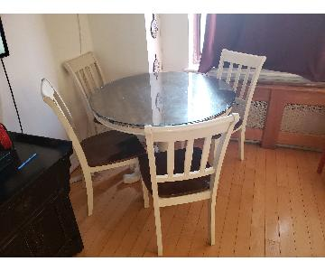 Round Wood 2-Tone Dining Table