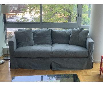Crate & Barrel Willow Grey Slipcovered Sofa