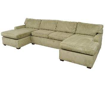 Pottery Barn Suede Light Green Double Chaise Sectional Sofa