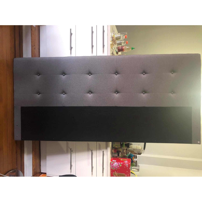Winston Porter Houchins Upholstered King Size Grey Headboard