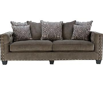 Raymour & Flanigan Calista Microfiber Sofa in Dark Grey