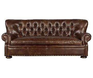 Restoration Hardware Churchill Leather Sofa w/ Nailheads