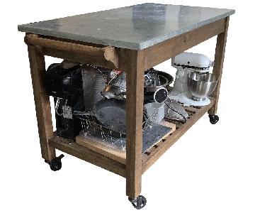 Nadeau Furniture Metal & Wood Kitchen Island