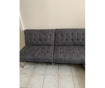 Dark Grey 2-Piece Futon Sectional Sofa