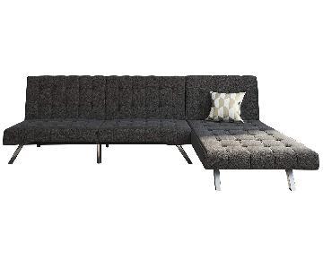 Dark Grey 2-Piece Futon Sectional Sofa