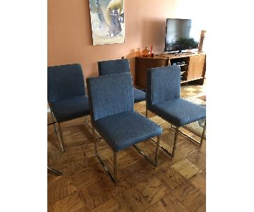 Blue Fabric & Chrome Sled-Legged Dining Chairs