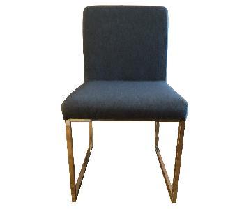 Blue Fabric & Chrome Sled-Legged Dining Chairs