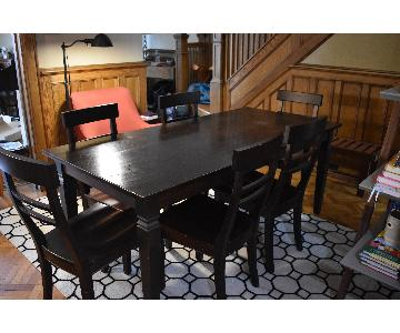 Crate & Barrel Wood Dining Table w/ 6 Chairs