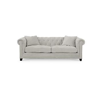 Macy's Saybridge Grey Microsuede Sofa + Chair