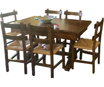 Vintage Handmade Chestnut Dining Table w/ 6 Chairs