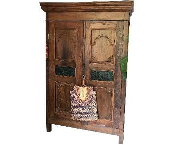 Antique Wooden Armoire w/ Stained Glass Panels