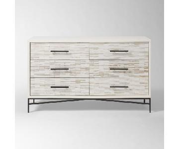 West Elm Wood Tiled 6 Drawer Dresser