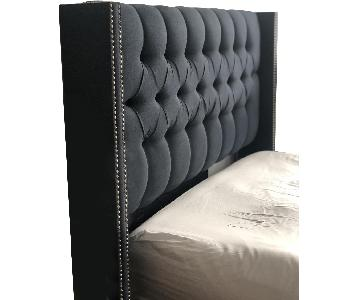 One Kings Lane Lux Bed Frame w/ Tufted Headboard