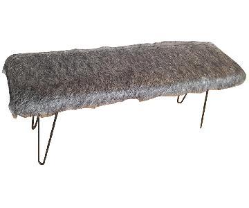 Faux Fur Hairpin Legs Bench