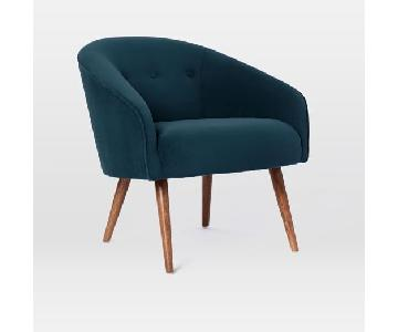 West Elm Arm Chair in Navy Velvet