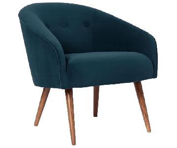 West Elm Arm Chair in Navy Velvet