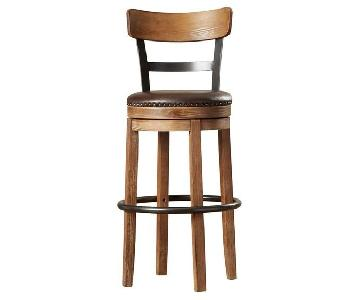 Trent Austin Lynwood Wooden Bar Stools w/ Leather Seats