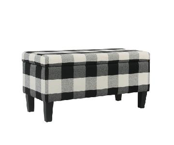 Target Black Plaid Storage Bench