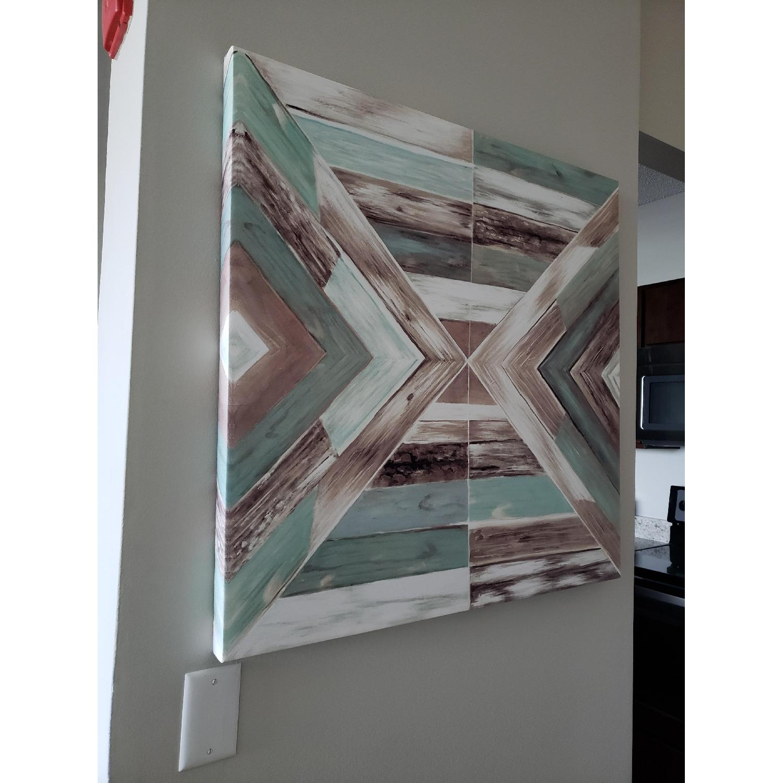 Canvas Wall Art - Blue/Green Rustic Barn Wood-1