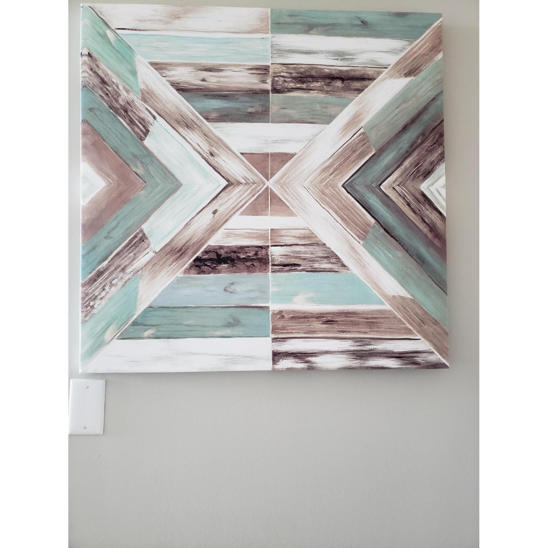 Canvas Wall Art - Blue/Green Rustic Barn Wood-2