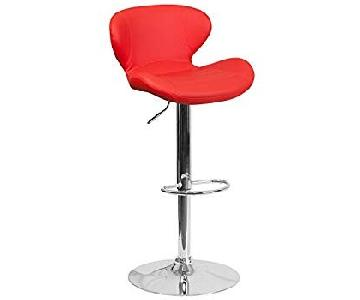 Flash Furniture Red Vinyl Adjustable Height Bar Stools