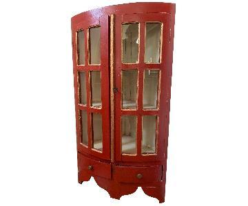Vintage Red & Gold Corner Cabinet