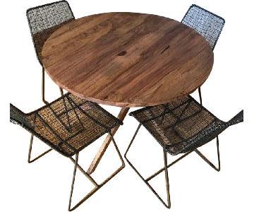 CB2 Round Walnut Dining Table