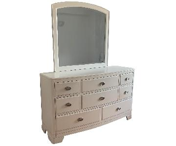 White Wood Dresser w/ Mirror