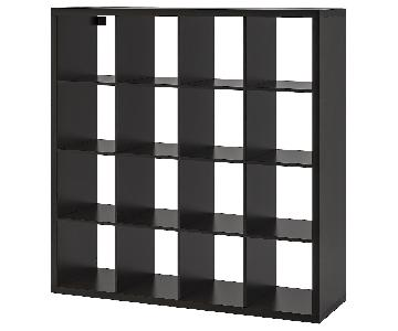 Ikea Kallax Bookcase in Black-Brown w/ 2 Boxes & 2 Drawers