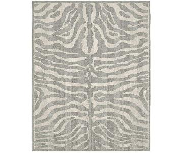 Safari Area Rug in Silver/Ivory Zebra