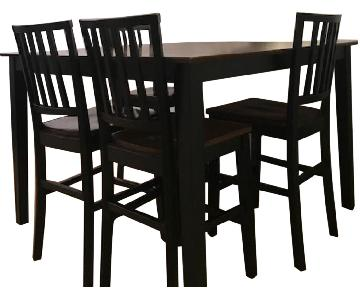 Wooden Pub Height Dining Table w/ 4 Stools