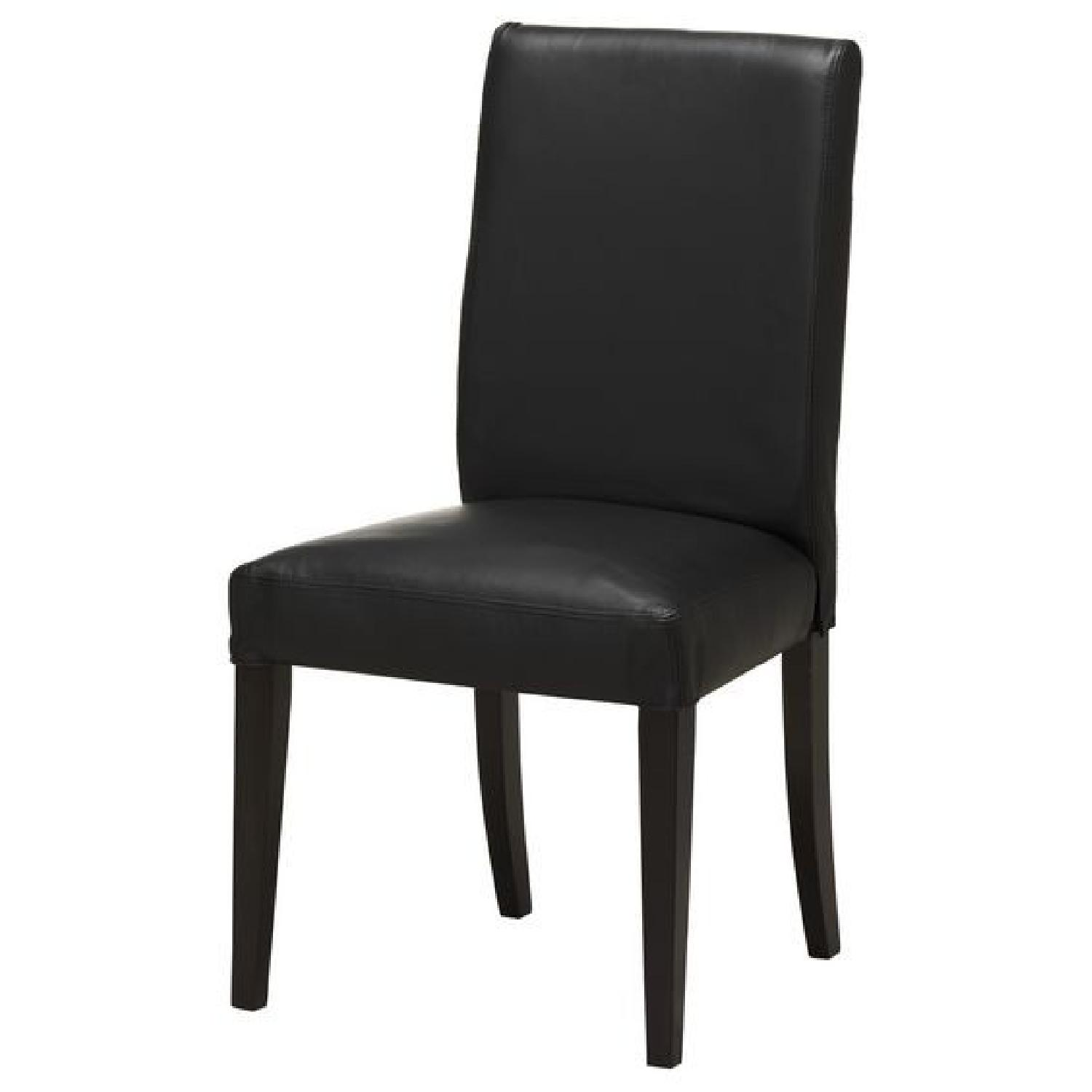Ikea Black Faux Leather Chair   Per Set Of 2