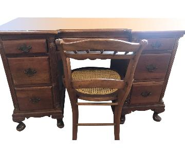 Vintage Wood Desk & Wicker Chair