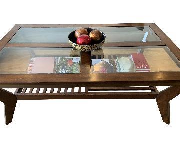 Bob's Glass Top Coffee Table w/ Magazine Shelf