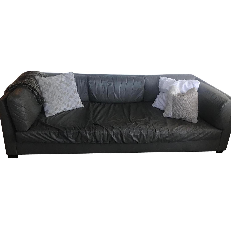 Restoration Hardware Grey Leather Sofa
