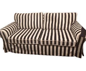 Ikea Ektorp Black & White Slipcovered Sleeper Sofa