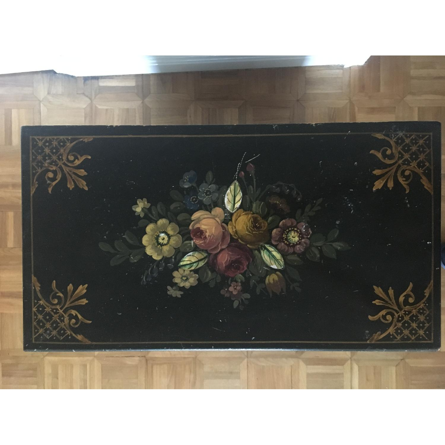 Antique Hand Painted Flowers Mother of Pearl Inlay Dresser-1