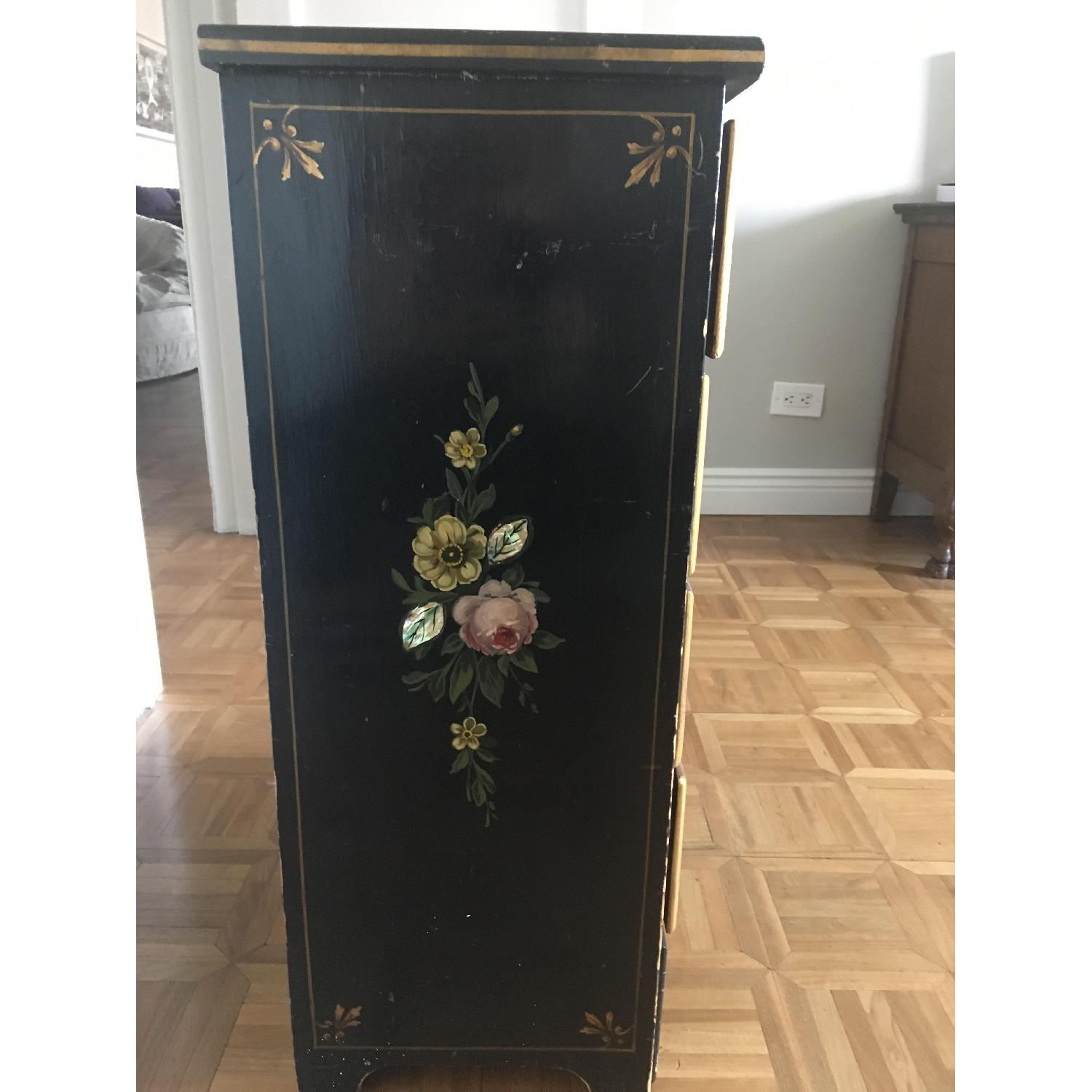 Antique Hand Painted Flowers Mother of Pearl Inlay Dresser-2