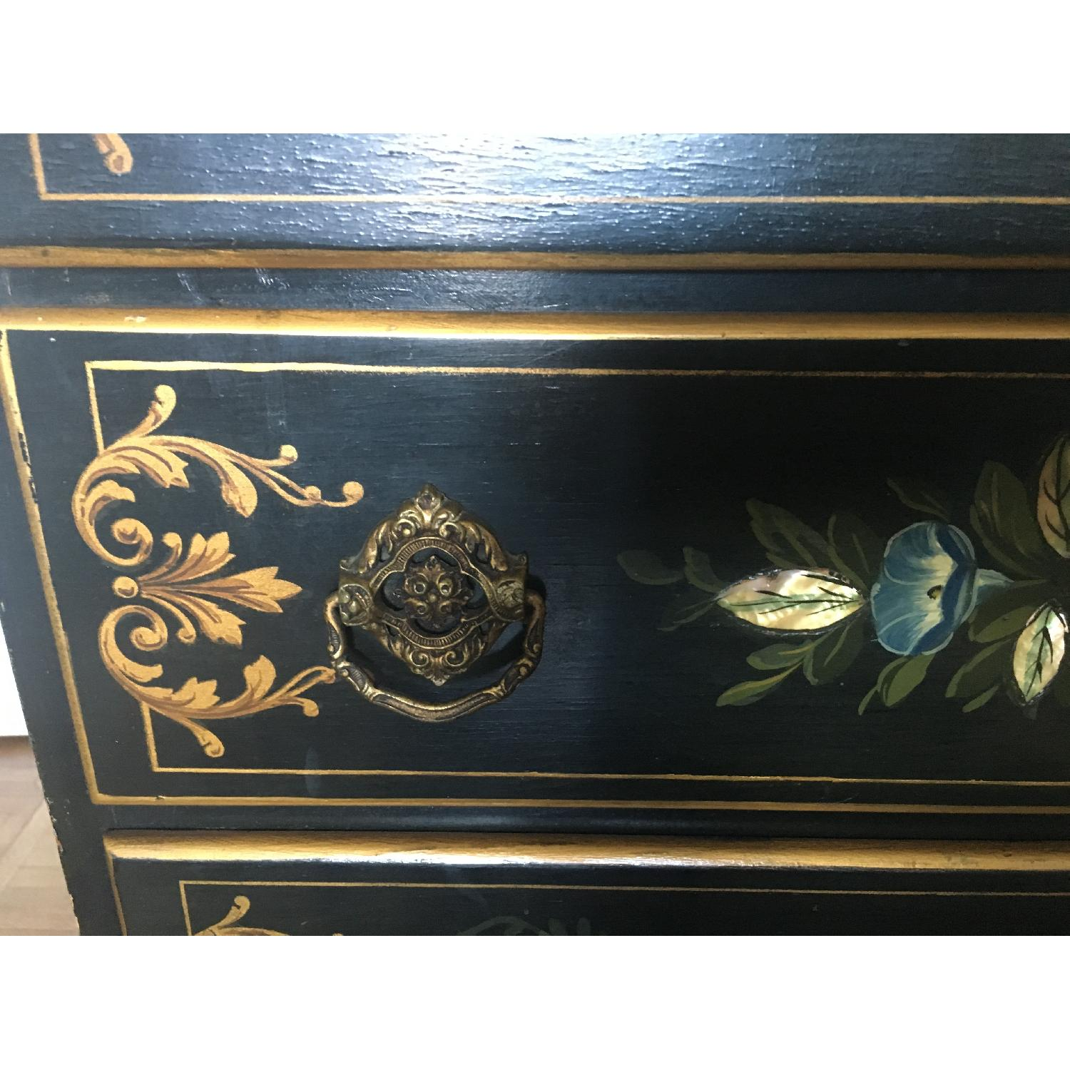 Antique Hand Painted Flowers Mother of Pearl Inlay Dresser-3