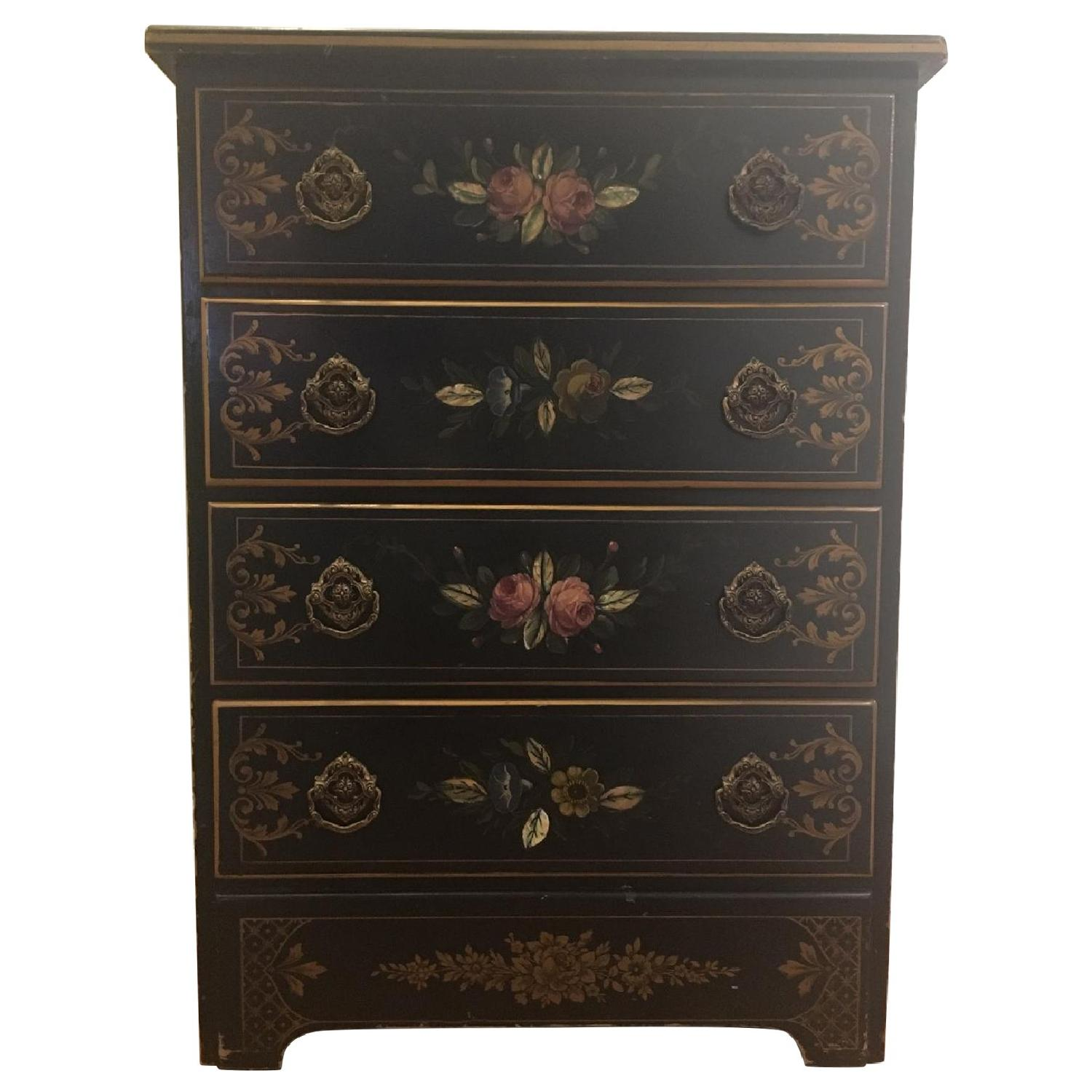 Antique Hand Painted Flowers Mother of Pearl Inlay Dresser