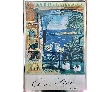 1962 Picasso Cote D'Azur Mourlot Lithograph Framed Print