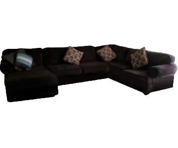 Brown 3 Piece U Shape Sectional Sofa