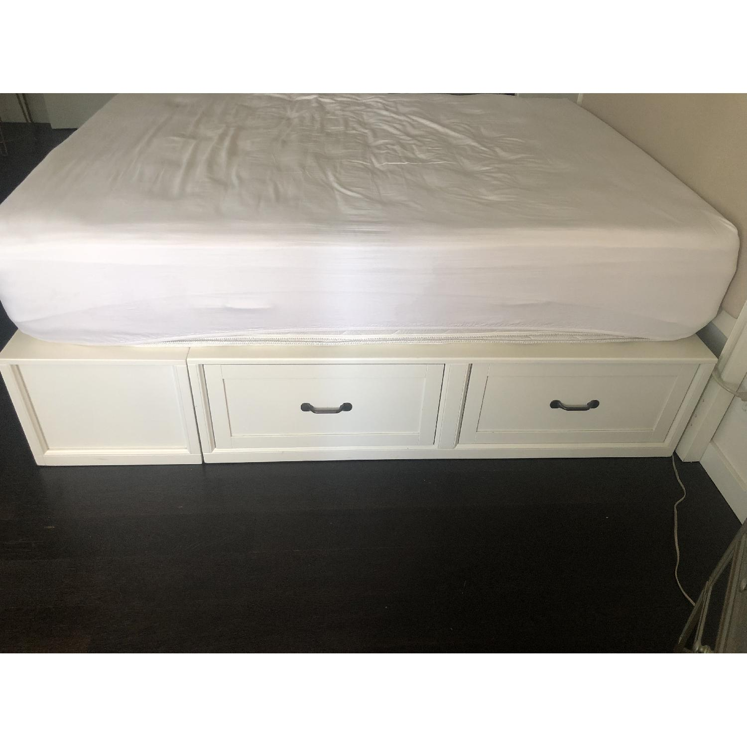 Pottery Barn White Storage Bed w/ Headboard-2