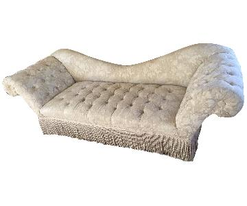 White Chesterfield Style Sofa w/ Floral Pattern