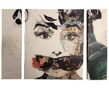 3 Piece Audrey Hepburn Wall Art
